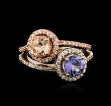14KT Two-Tone Gold 1.04 ctw Tanzanite, Morganite and Diamond Ring