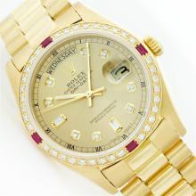 Rolex President 18KT Gold 1.00 ctw Diamond And Ruby DayDate Men's Watch