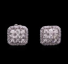 1.09 ctw Diamond Earrings - 14KT White Gold