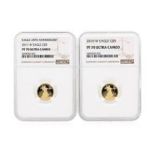2010-2011-W NGC PF70 Ultra Cameo $5 Eagle Gold Coin Set