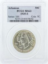 1935-S PCGS Graded MS63 Arkansas Commemorative Half Dollar Silver Coin