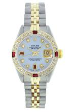 Rolex Two-Tone Ruby and Diamond DateJust Ladies Watch