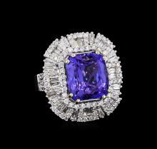 10.88 ctw Tanzanite and Diamond Ring - 18KT White Gold