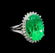 GIA Cert 15.64 ctw Emerald and Diamond Ring - 14KT White Gold