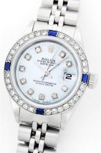 Rolex Stainless Steel Diamond and Sapphire DateJust Ladies Watch