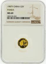 1987-Y NGC MS69 5Y 1/20 Oz. Gold Panda Coin