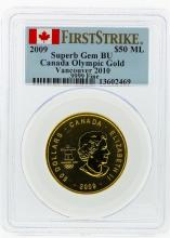 2009 PCGS Superb Gem BU $50 Vancouver 2010 Olympic Gold Coin