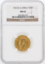 1931-SA NGC MS62 S.Africa 1SOV Gold Coin
