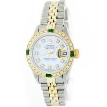 Rolex 18K Two-Tone Diamond and Emerald DateJust Ladies Watch