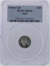2002 PCGS MS69 $10 Statue of Liberty American Eagle Platinum Coin