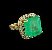 GIA Cert 23.20 ctw Emerald and Diamond Ring - 14KT Yellow Gold