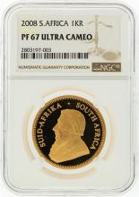 2008 NGC PF67 Ultra Cameo S. Africa 1KR Gold Coin