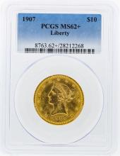 1907 PCGS MS62+ $10 Liberty Head Eagle Gold Coin