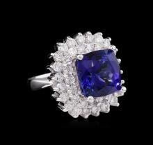 14KT White Gold GIA Certified 8.39 ctw Tanzanite and Diamond Ring