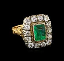 1.62 ctw Emerald and Diamond Ring - 18KT Yellow Gold
