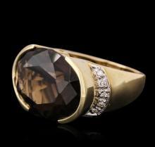 14KT Yellow Gold 20.17 ctw Smokey Quartz and Diamond Ring