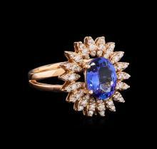 1.93 ctw Tanzanite and Diamond Ring - 14KT Rose Gold
