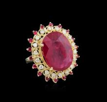19.43 ctw Ruby and Diamond Ring - 14KT White Gold