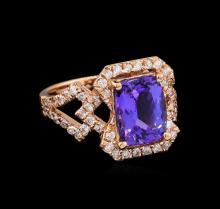 3.17 ctw Tanzanite and Diamond Ring - 14KT Rose Gold