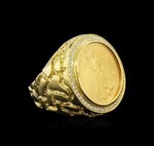 14KT Yellow Gold 0.43 ctw Diamond Coin Ring