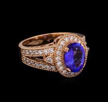 2.00 ctw Tanzanite and Diamond Ring - 14KT Rose Gold