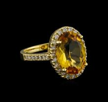 5.04 ctw Citrine and Diamond Ring - 14KT Yellow Gold