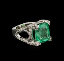 14.90 ctw Emerald and Diamond Ring - 14KT White Gold