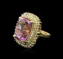 14KT Yellow Gold 36.29 ctw Kunzite and Diamond Ring