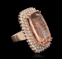 14KT Rose Gold 24.92 ctw Morganite and Diamond Ring