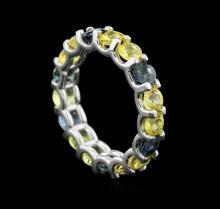 5.50 ctw Multi Color Sapphire Ring - 14KT White Gold