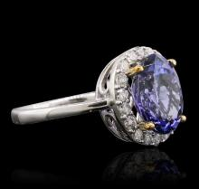 14KT Two-Tone Gold 3.90 ctw Tanzanite and Diamond Ring