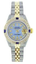 Rolex Two-Tone Diamond and Sapphire DateJust Ladies Watch