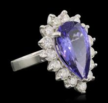 14KT White Gold 5.38 ctw Tanzanite and Diamond Ring