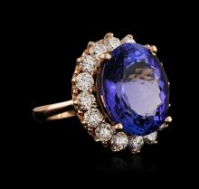 14.40 ctw Tanzanite and Diamond Ring - 14KT Rose Gold