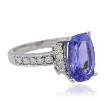 14KT White Gold 3.63 ctw Tanzanite and Diamond Ring
