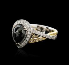 18KT Two-Tone Gold 2.72 ctw Black Diamond Ring