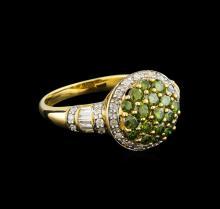 0.96 ctw Tsavorite and Diamond Ring - 14KT Yellow Gold