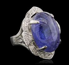 14KT White Gold 13.23 ctw Tanzanite and Diamond Ring
