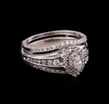 0.81 ctw Diamond Ring and Wedding Band - 14KT White Gold