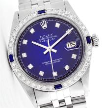 Rolex Stainless Steel Diamond and Sapphire DateJust Watch