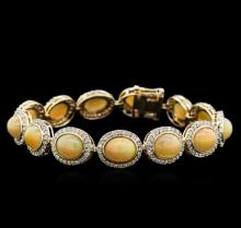 18.50 ctw Opal and Diamond Bracelet - 14KT Yellow Gold