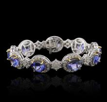 14KT Two-Tone Gold 15.66 ctw Tanzanite and Diamond Bracelet