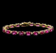 15.00 ctw Pink Tourmaline and Diamond Bracelet - 14KT Yellow Gold