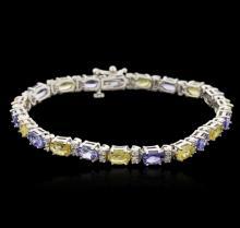 14KT White Gold 5.30 ctw Sapphire, Tanzanite and Diamond Bracelet