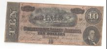 1864 $10 Confederate States of America Bank Note