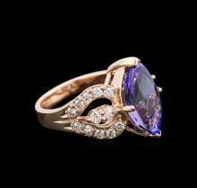 5.12 ctw Tanzanite and Diamond Ring - 14KT Rose Gold