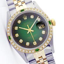 Rolex Two-Tone Diamond and Emerald DateJust Men's Watch