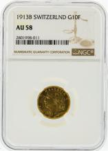 1913-B NGC AU58 Switzerland 10F Gold Coin