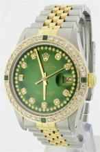 Rolex Two Tone StringDiamond and Emerald DateJust Men's Watch