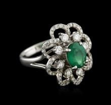 18KT White Gold 1.34 ctw Emerald and Diamond Ring